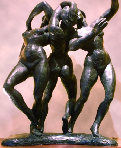 Dancing Graces, 1977, Painted Plaster